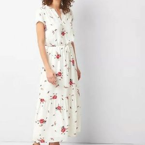 Gap floral drawstring maxi dress